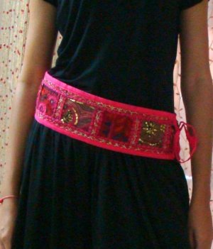 Funky Embroidered Thread,Mirrored And Sequinced Belt with old saree Patch Work Full Handmade