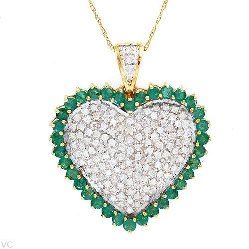 2.00 CTW Diamond and Emerald Necklace