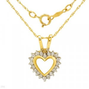 Necklace w/ Heart Shaped Diamond Pendant .20ctw