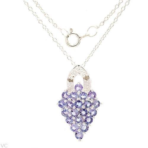 1.41 ctw Stylish Diamond and Tanzanite Necklace Pendant