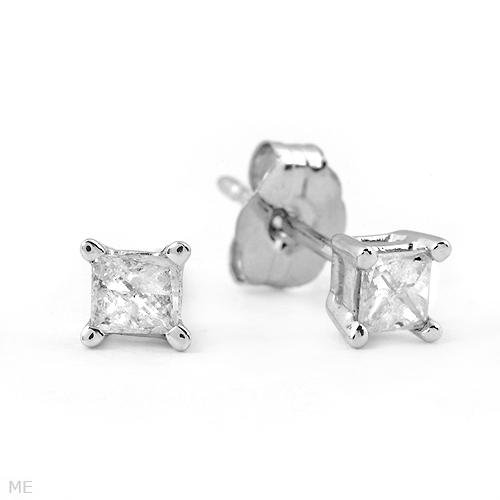 Charming .20ct Princess Cut Diamond Earrings White Gold