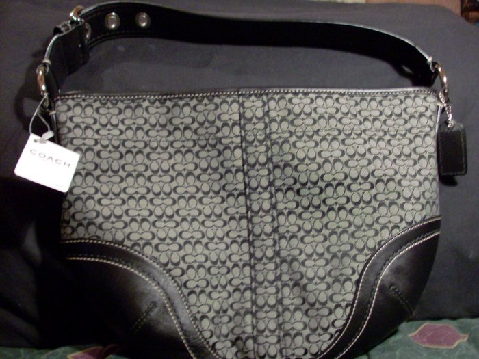 NWT Authentic COACH Black Soho Minisig Med Hobo Handbag