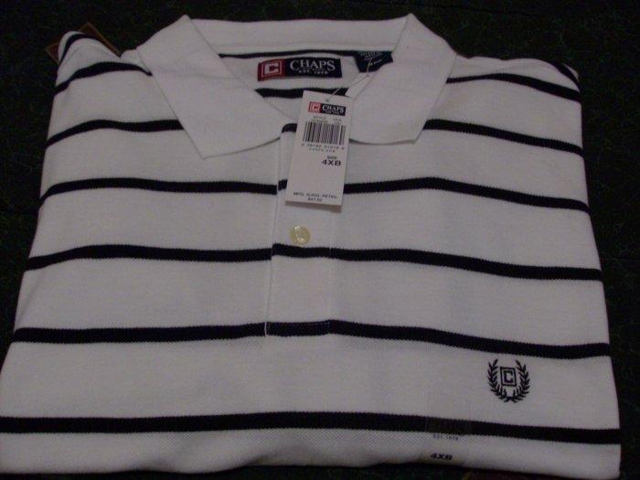 NWT Chaps Golf Polo Shirt Size 4XB, XXXXB White New