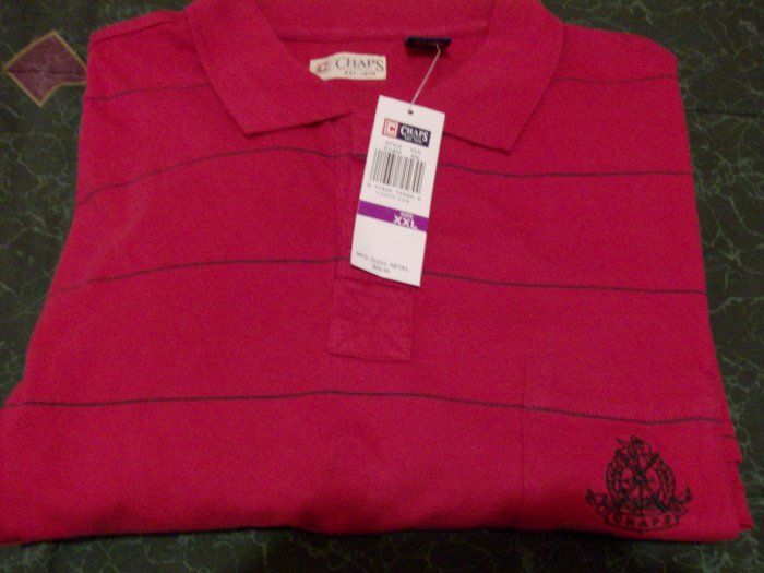 NWT Red Stripped Chaps Polo Shirt Sz 2X, XX
