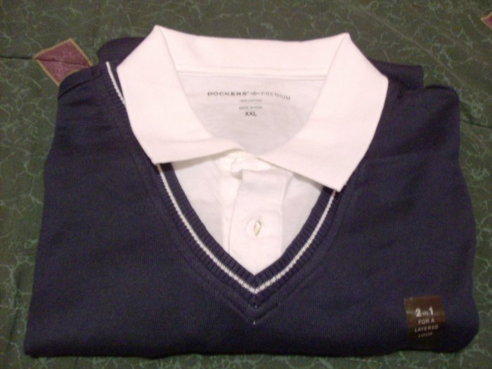 NWT Dockers Golf 2 in 1 Polo Shirt Size 2X Layered XX