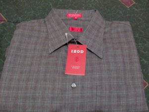 NWT Izod Gray Striped Dress Shirt Size 2X, XX New