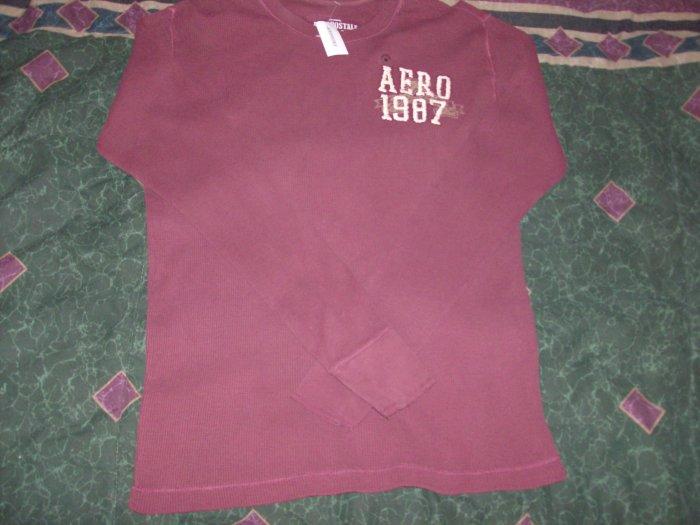 NWT Men's Aeropostale Burgundy Long Sleeve Shirt Sz. L