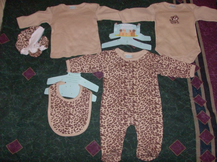 NWT Adorable 6 PC Baby Boxer Cheetah Cat Set 3-6 months