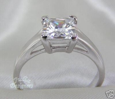 Princess Cut 2.48 ctw Cubic Zirconia Engagement Ring Size 8