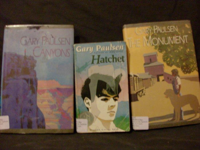 Set of Gary Paulsen Books (Hatchet, The Monument, Canyons)