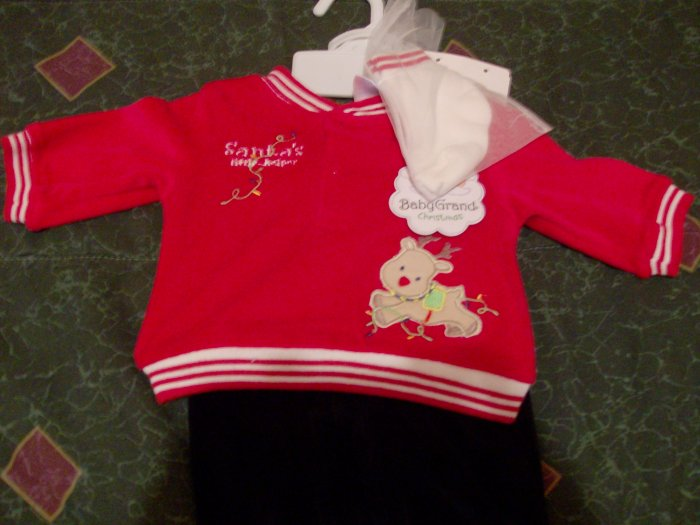 NWT Adoreable Baby Grand Santa's Little Helper Christmas 3 Piece Set  0-3 months