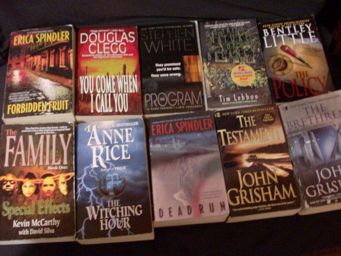 Lot of 10 Books Grisham, Bentley, Anne Rice, Spindler