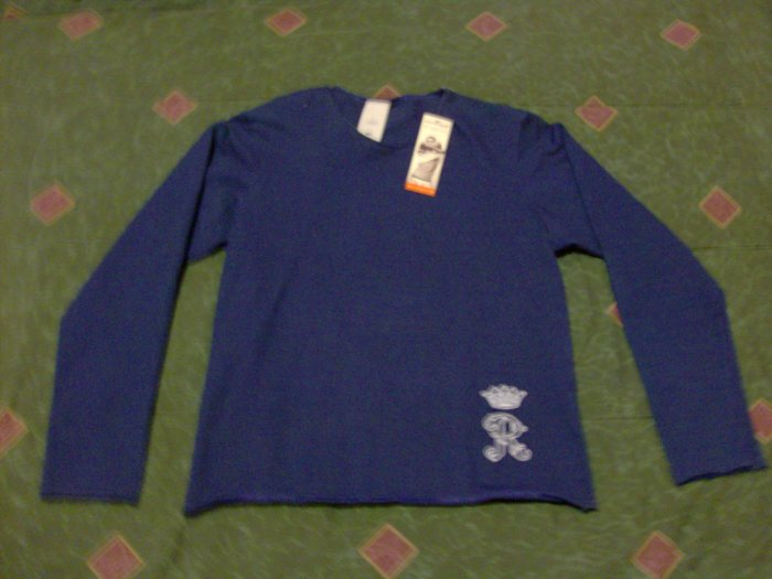 Rufskin Super Low Cut Navy Blue Royce Muscle Long Sleeve Shirt Size Small