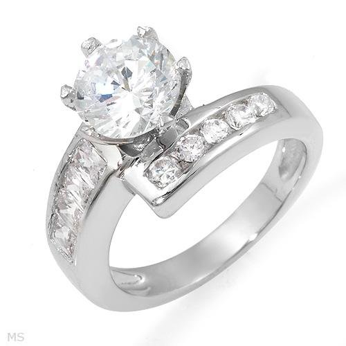 4.55 ctw Round Solitaire Cubic Zirconia Engagement Ring with Round and Emerald accents Size 6.75