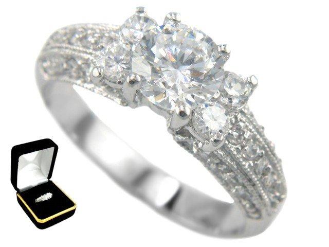 2.17CTW Brilliant Cut 18K Bridal Engagement Ring size 7