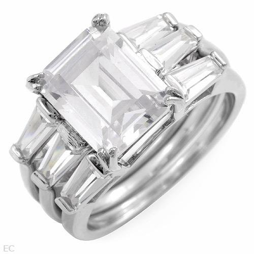 6.50 ctw Cubic Zirconia Baguette Cut Engagement Ring Set 7