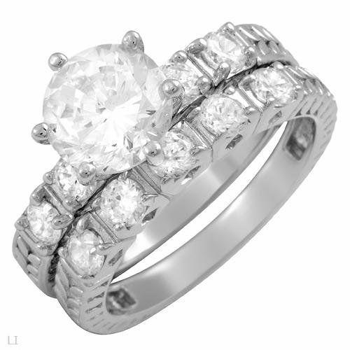 4.75 ctw Cubic Zirconia Round Cut Engagement Ring Set Size 6