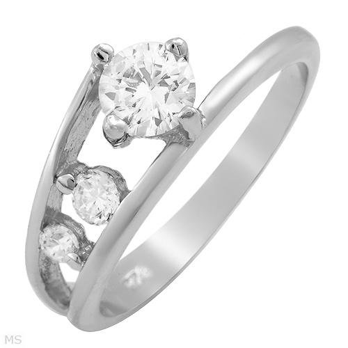 1.35 ctw Cubic Zirconia Journey Engagement Ring Size 9