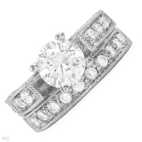 3.65 ctw Cubic Zirconia Round Engagement Ring Set Size 6