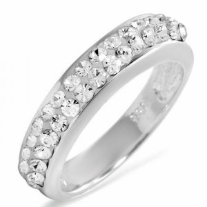 Stunning Round Cut Crystal Engagement Ring Size 6.5