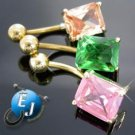 3 PC Lot Gold Plated Belly Button Navel Rings NEW