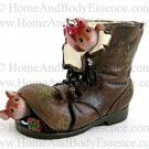 Yankee Candle Mice in Boot Tea Light Holder Mouse Brown Shoe Night Before Christmas Home Decor