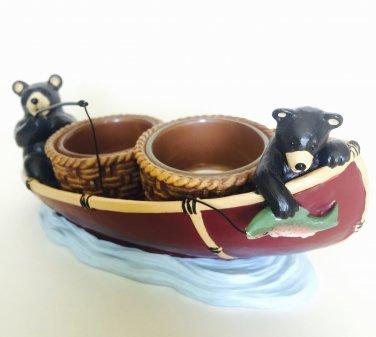 Yankee Candle Mountain Lodge Bear Double Tea Light Holder Fishing Boat Classic Home Decor