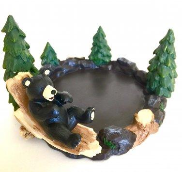 Yankee Candle Mountain Lodge Bear Jar Holder Tray w/ Pine Trees for Housewarmer & Tumbler