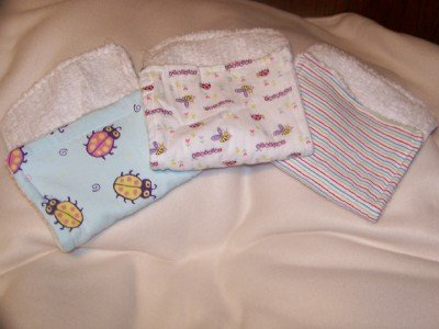 Three 3 Burp Clothes Chenille/PRR (Painting Red Rhinos)Fabric