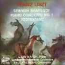 franz liszt - spanish rhapsody, piano concerto no.1, todtentanz - ozan march piano CD 1986 MMG