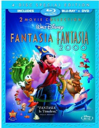 Fantasia + Fantasia 2000 bluray & DVD 4-disc collection 2010 disney used