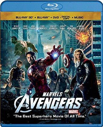 marvel's avengers bluray 3D + bluray + DVD + digital copy + music 2012 4-discs disney used