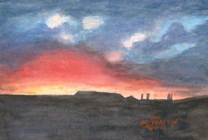 060 Stormy Sunset, framed