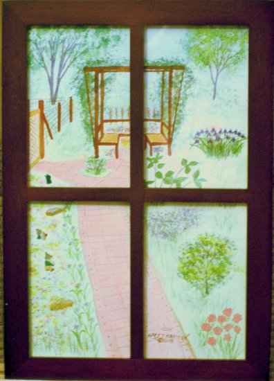 064 View from the Window, shadowbox frame