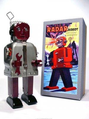 Radar Robot (Zoomer) Battery Operated Tin Toy - Gray/Burgundy
