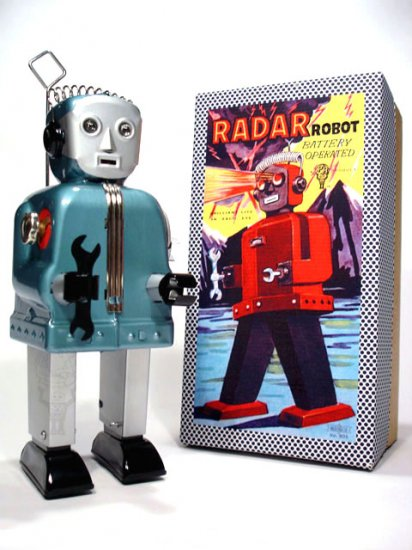 Radar Robot (Zoomer) Battery Operated Tin Toy - Blue/Silver