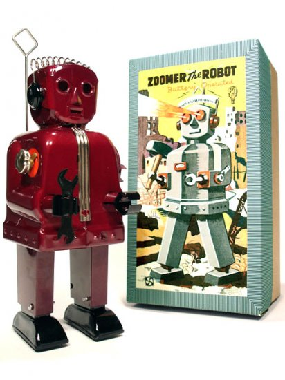 Zoomer Robot Battery Operated Tin Toy - Burgundy