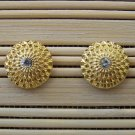 shiney gold detail stud  earrings with center stone