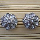 silver and rhinstone flower stud earrings