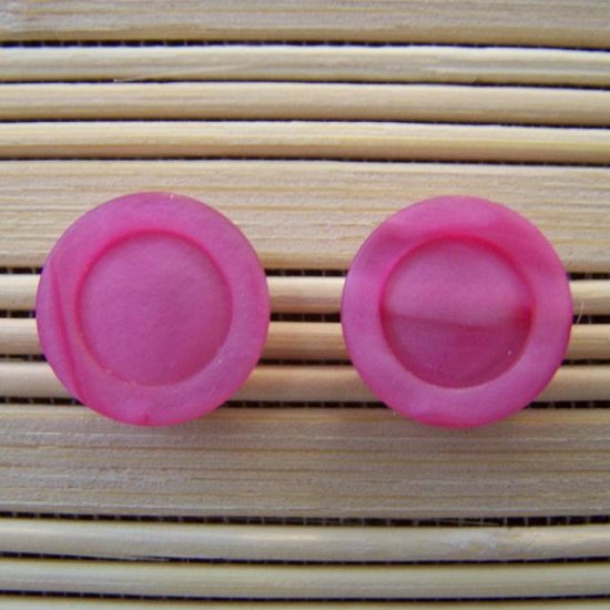 pink circles stud earrings