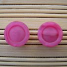 pink circles stud earrings