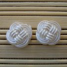 pearly woven stud earrings
