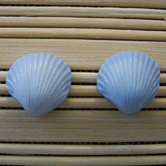 shell shaped blue stud earrings