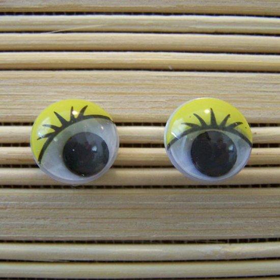 yellow eyelid wigglie eye stud earrings