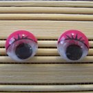 pink eyelid wigglie eye stud earrings