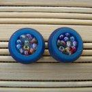 blue beadded button stud earrings