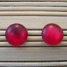 bright raspberry frosty stud earrings