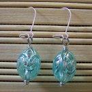 aqua egg dangle earrings