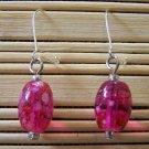 fuschia speckled oval dangle earrings