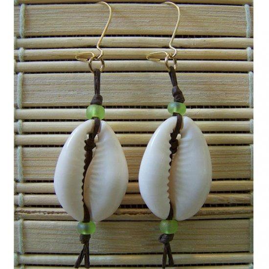 puka shell green dangle earrings